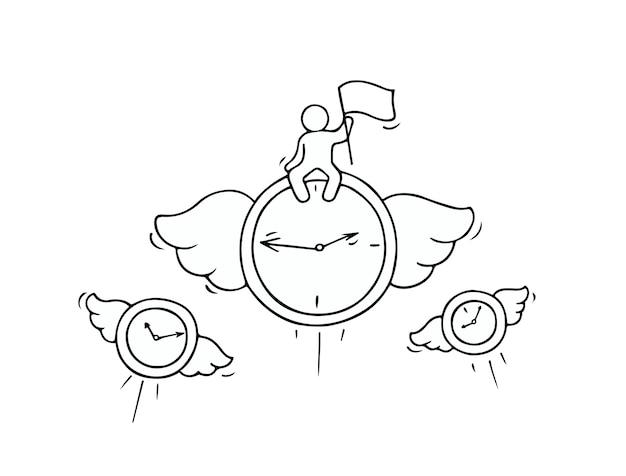 Skizze fliegender uhren mit kleinem arbeiter. kritzeln sie süße miniatur über führung und frist. hand gezeichnete karikaturvektorillustration für geschäftsentwurf.