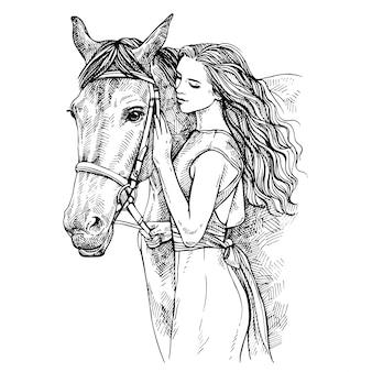 Skizze frau und pferd. junge frau streichelt ein pferd. schönheit mit pferd. hand gezeichnete tintenillustration