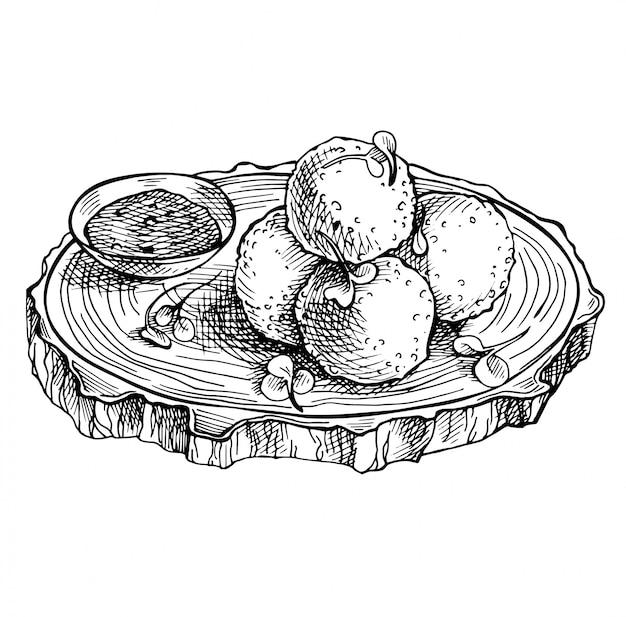 Skizze gebratene mozzarellakäsebälle auf hölzernem brett.