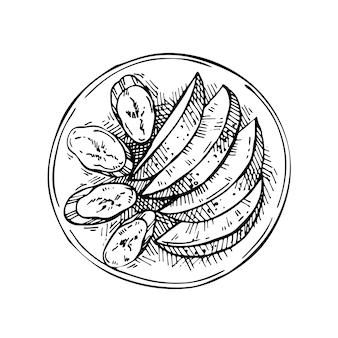 Skizze geschnittene früchte auf einem teller: apfel und banane. handgezeichnete tinte illustration