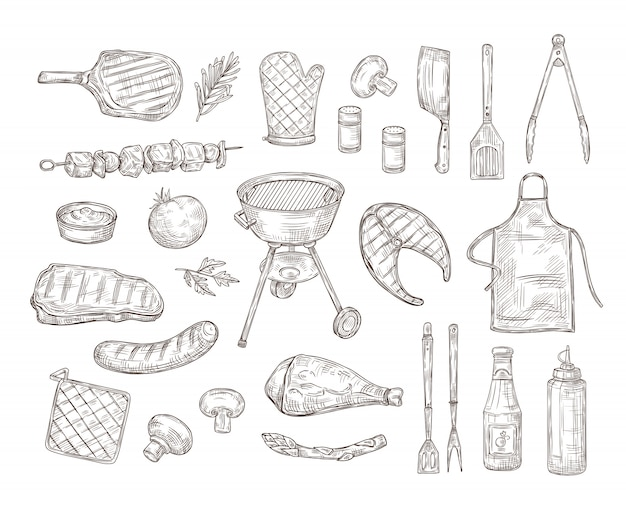 Skizze grill. barbecue gekritzel zeichnung grill hühnersauce grill gegrilltes gemüse gebratenes steak fleisch geröstete würstchen vintage