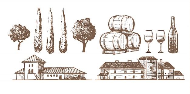 Skizze satz von elementen des weinguts, weinfässer, eine flasche gläser, gebäude villen.