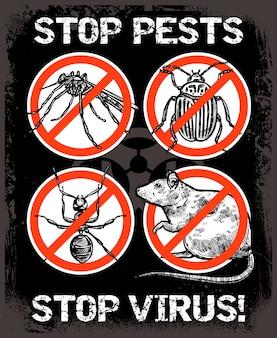 Skizze-schädlingsbekämpfungs-insektenhintergrund