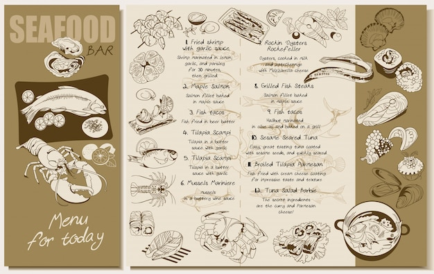 Skizze seafood restaurant menüvorlage