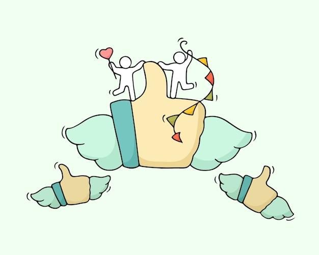 Skizze von arbeitenden kleinen leuten mit ähnlichem symbol. kritzeln sie niedliche miniatur der teamarbeit und fliegenden hand daumen hoch. hand gezeichnete karikaturillustration für soziale medien.