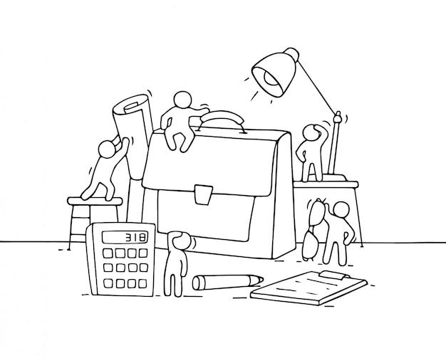 Skizze von arbeitenden kleinen leuten mit fall.