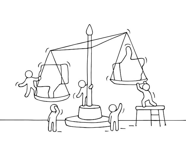 Skizze von arbeitenden kleinen leuten mit skala. kritzeln sie niedliche miniaturszene von arbeitern, die zwischen mögen und nicht mögen wählen. hand gezeichnete karikatur