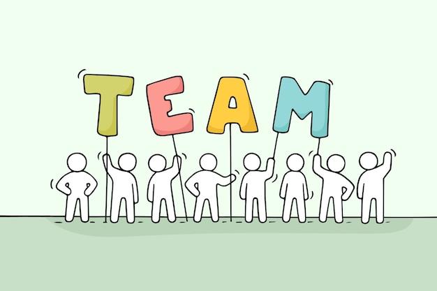 Skizze von arbeitenden kleinen leuten mit wort team