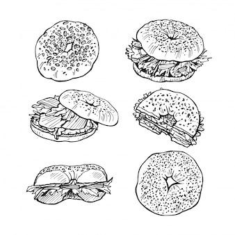 Skizze von bagels mit salat, lachs, sesam.