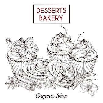 Skizze von brötchen und kuchen und gewürzen, desserts bäckerei hintergrund