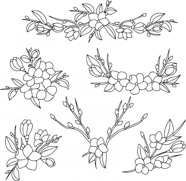 Skizze von dekorativen mit blumenverzierungen mit blühenden blumen