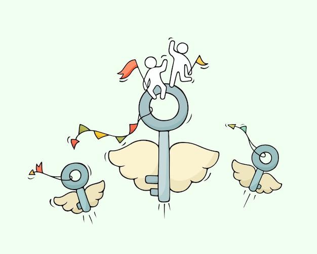 Skizze von fliegenden schlüsseln mit kleinen arbeitern. kritzeln sie niedliche miniatur über geschäftsidee. hand gezeichnete karikaturillustration für geschäfts- und sicherheitsdesign.
