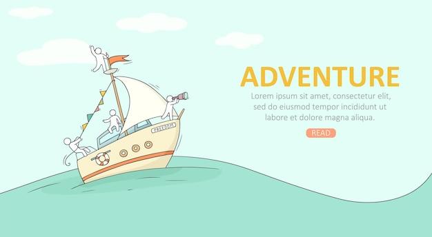 Skizze von kleinen leuten auf yacht. doodle süße miniaturszene über den transport. handgezeichnete cartoon-vektor-illustration für urlaubsdesign.