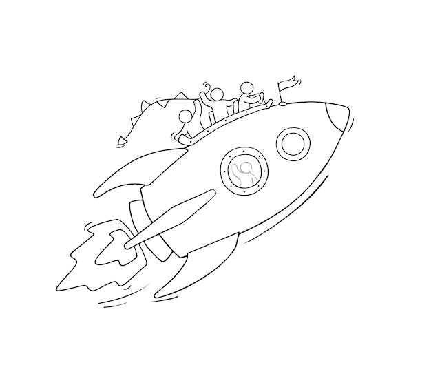 Skizze von kleinen leuten mit fliegender rakete. kritzeln sie niedliche miniaturszene von arbeitern über start. hand gezeichnete karikaturillustration für geschäftsentwurf.