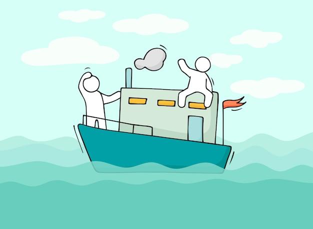Skizze von kleinen männern segeln mit dem boot.