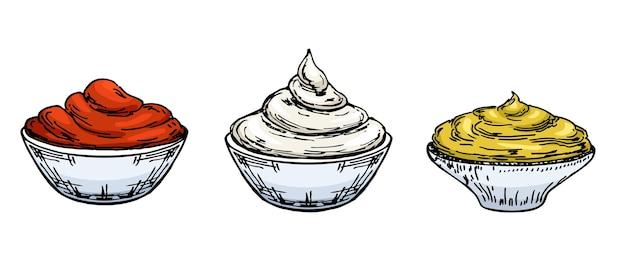 Skizze von mayonnaise, senf und tomatenketchup. saucen in schalen.