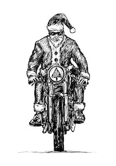 Skizze von santa reitet motorrad hand zeichnen