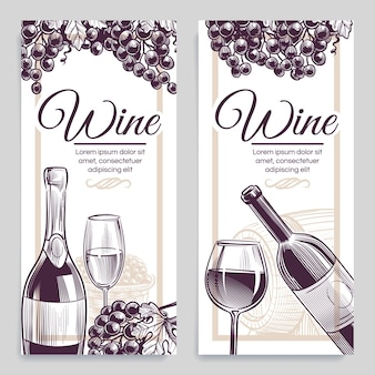 Skizze wein banner illustration