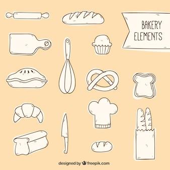 Skizzen bäckerei-elemente gesetzt