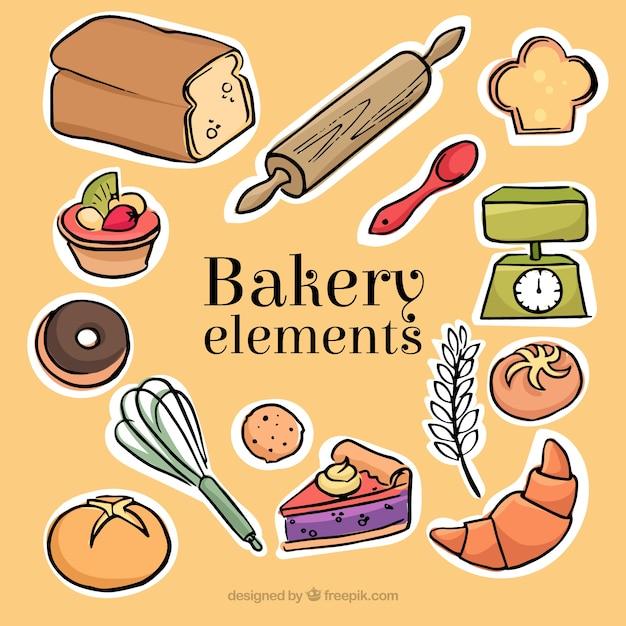 Skizzen der bäckerei und desserts etiketten