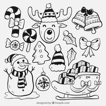 Skizzen der typischen elemente von weihnachten