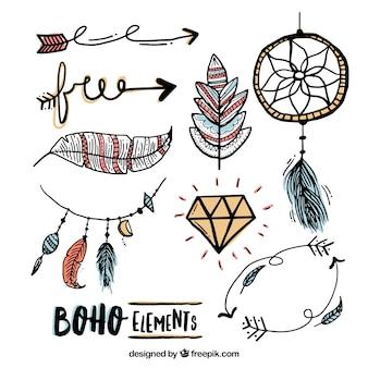 Skizzen Elemente in Boho-Stil