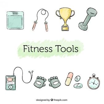 Skizzen fitness-elemente zu packen
