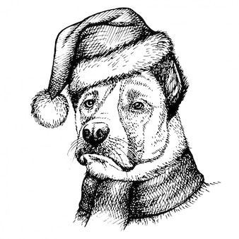Skizzen-hund in santa claus-hut.