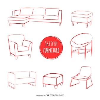 Skizzen möbel vektoren