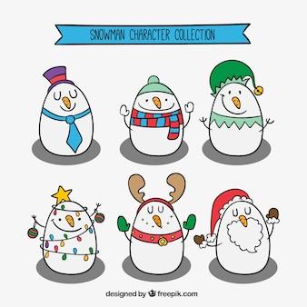 Skizzen schönen schneemann-kollektion