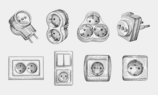 Skizzen-set aus handgezeichneten steckdosen, elektrischen t-shirts und adatoren. adaptersatz mit 2, 3 seitlichen steckdosen, europäischen erdungssteckdosen der typen f, c, doppelten erdungssteckdosen, steckdosen mit lichtschalter