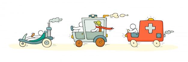 Skizzen-set mit niedlichen autos und menschen