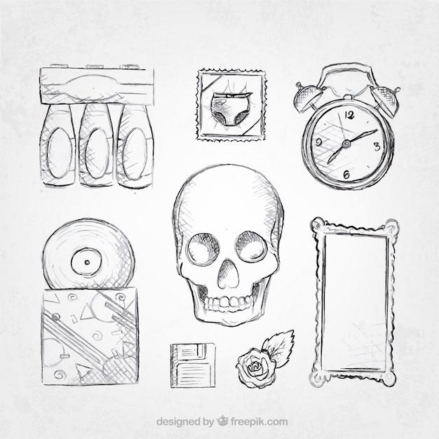 Skizzen set von retro-objekten
