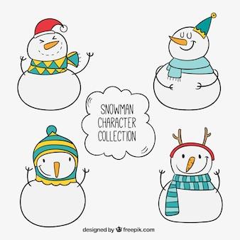 Skizzen set von schneemännern mit hüten und schals