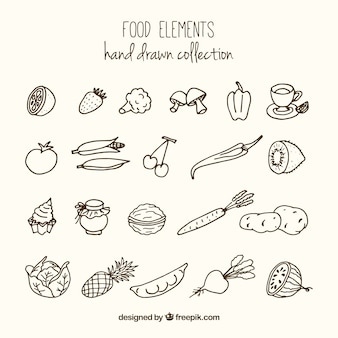 Skizzen vielzahl von gesunden lebensmitteln