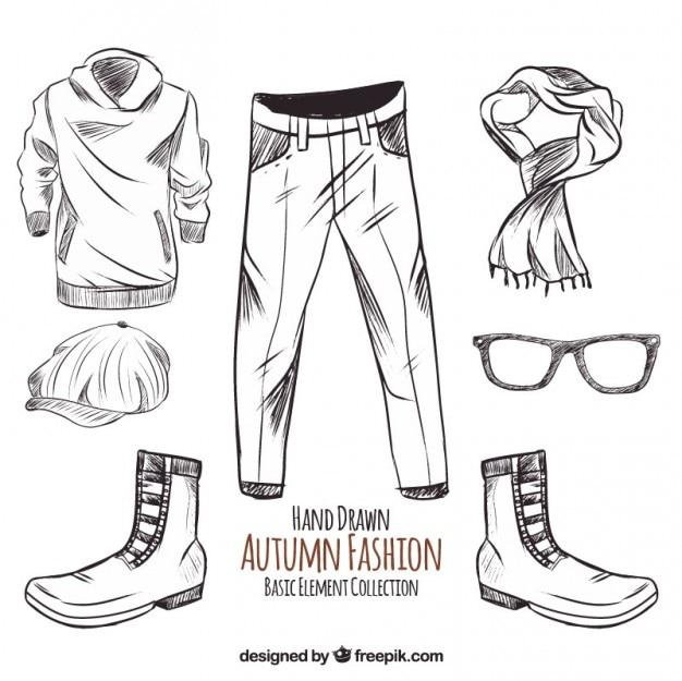 Skizzen von herbst kleidung und accessoires
