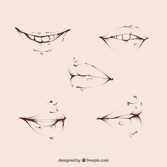 Skizzen von hübschen mund