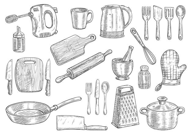 Skizzen von küchenutensilien und haushaltsgeräten