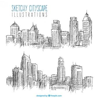 Skizzen von stadtlandschaften