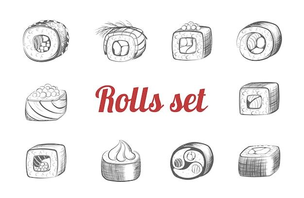 Skizzen von sushi-rollen-set. traditionelles japanisches essen mit meeresfrüchten und reis, frischen fischstücken, eingewickelt in köstliches sashimi aus algen mit sojasauce und köstlicher wasabi-sorte. vektormonochromes mittagessen.