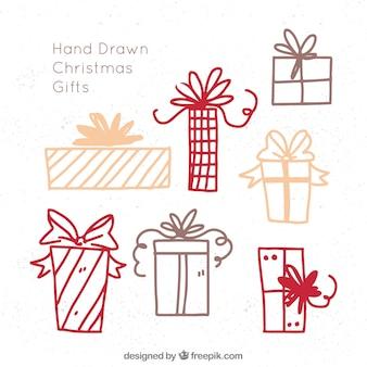 Skizzen von weihnachtsgeschenken