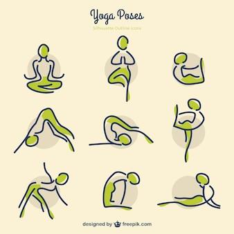 Skizzen yoga-posen mit grünen details
