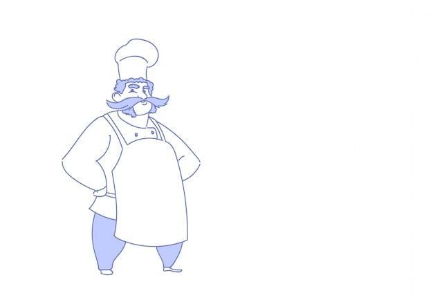 Skizzengekritzel der stehenden haltung des restaurantchefkochs tragendes restaurantuniform in voller länge horizontal