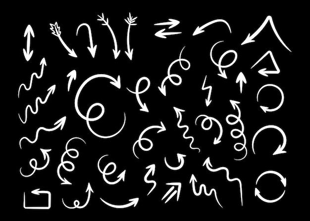 Skizzenhafte zeichnungspfeile setzen vektorillustration weiß verdrehte und gekräuselte handgezeichnete pfeile spirale und