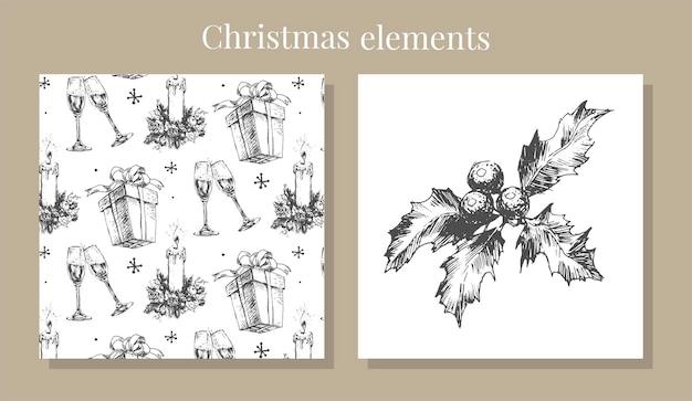 Skizzenillustration des neuen jahres und des weihnachtssatzes