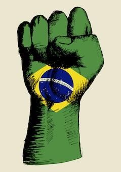 Skizzenillustration einer faust mit brasilienabzeichen