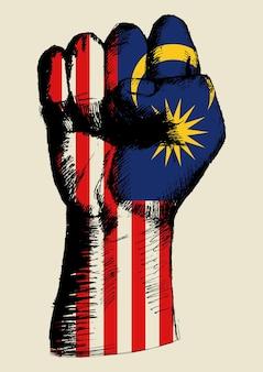 Skizzenillustration einer faust mit malaysia-abzeichen