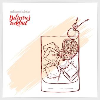 Skizzenkarte mit leckerem frischen altmodischen cocktail mit limette und kirsche