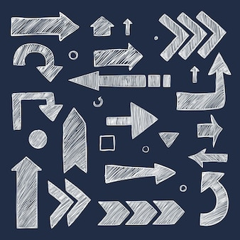 Skizzenpfeile. hand gezeichnete kreidebilder richtungssymbolsammlung.
