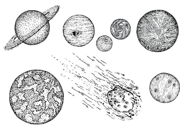Skizzenplaneten-ikonensatz, gezeichnete illustration der tinte hand